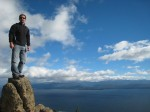 My less acrobatic stance on a rock above Bariloche, Argentina