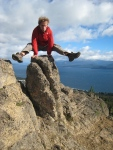 Normal Fabian stunt on a rock above Bariloche, Argentina
