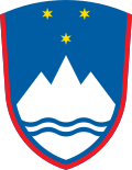 Coat of arms of Slovenia, with a stylized depiction of Triglav